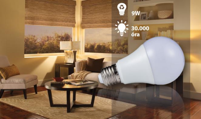 9W-os erős fényű LED izzó