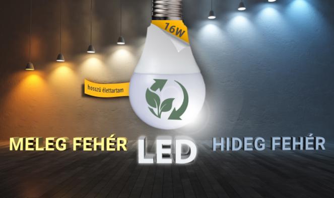 16W-os erős fényű LED izzó